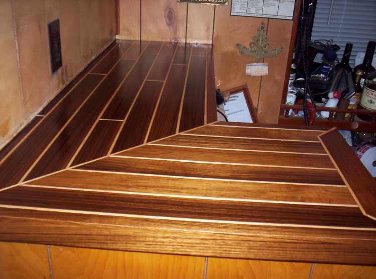 Holly Maple Inlay Sapeli Bar Top. A Teak And Holly Custom Countertop ...