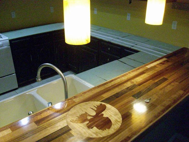 Custom Moose Inlaid Countertop Table