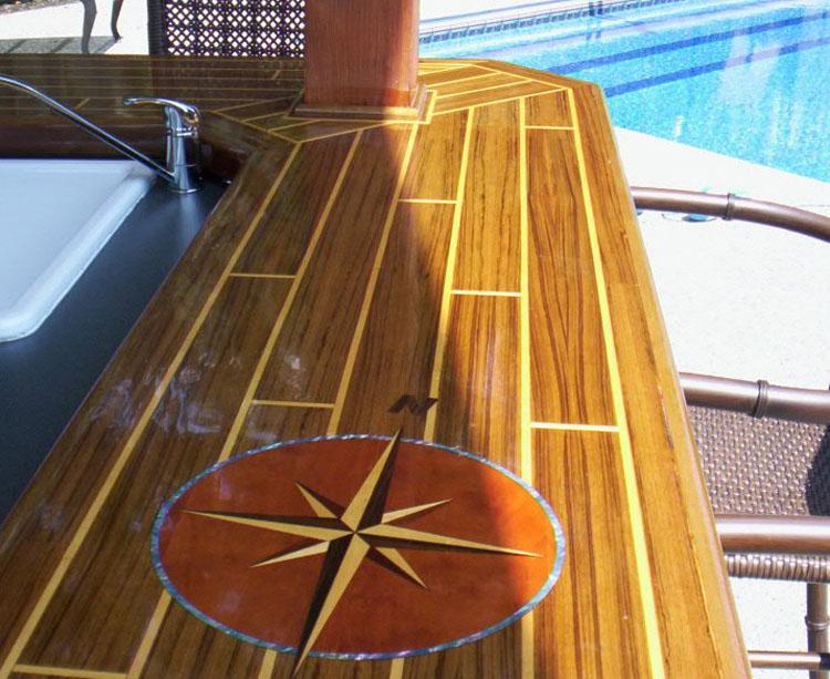 Custom Teak Holly Boat Table