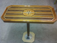 yacht table teak compass rose