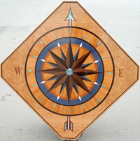 medallion with nautical art cherry walnut compass rose