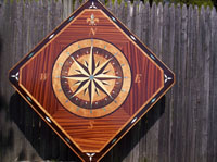 medallions with custom compass rose art