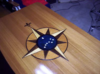 yacht table northstar compass rose custom art